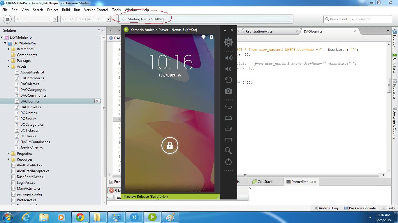 Visual Studio Android Emulator - Xamarin